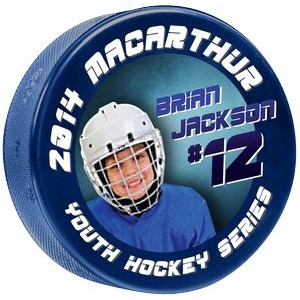 4 Color Process Digitally Printed Light Blue 4 oz Junior Hockey Pucks - DOUBLE SIDED PRINTING